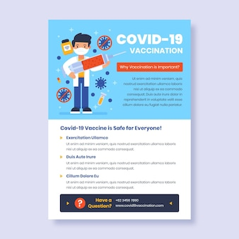 Dépliant plat de vaccination contre le coronavirus