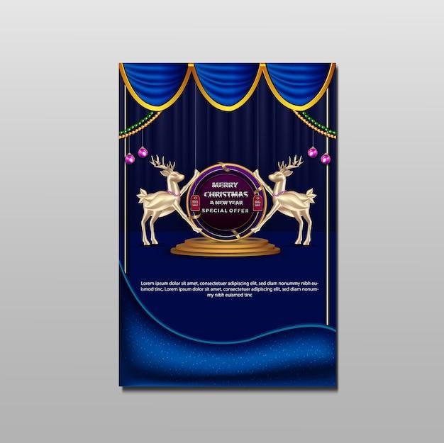 Dépliant de promotion de luxe joyeux noël et nouvel an grande vente