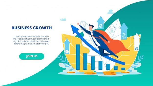 Dépliant publicitaire page de destination pour la croissance des entreprises