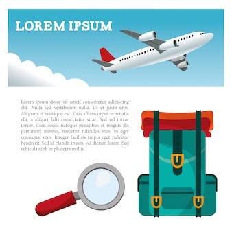 Dépliant de recherche de sac à dos d'avion de voyage
