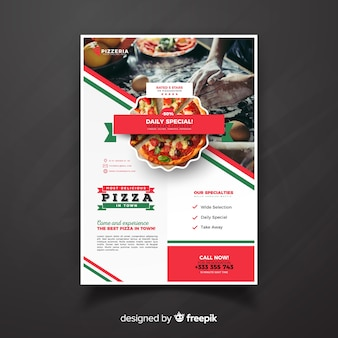 Dépliant de restaurant de pizza photographique