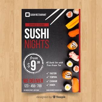 Dépliant simple sushi