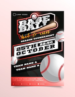 Dépliant de sport de baseball