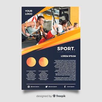 Dépliant sportif avec modèle d'image