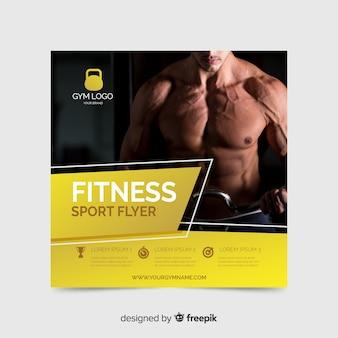 Dépliant Sportif Avec Photo Vecteur gratuit