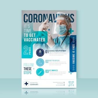 Dépliant de vaccination contre le coronavirus design plat