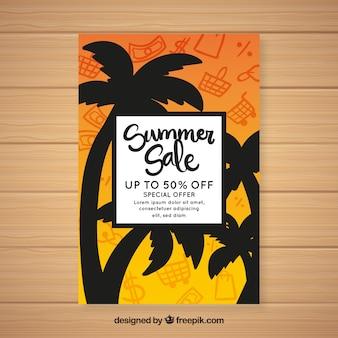 Dépliant de vente d'été avec silhouette de palmiers