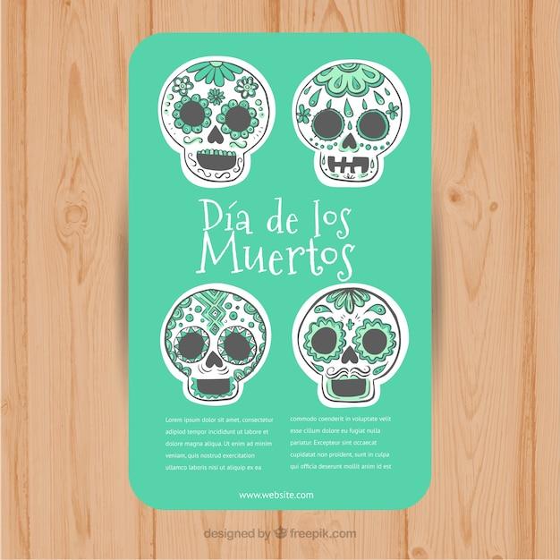 Dépliant vert avec des crânes mexicains