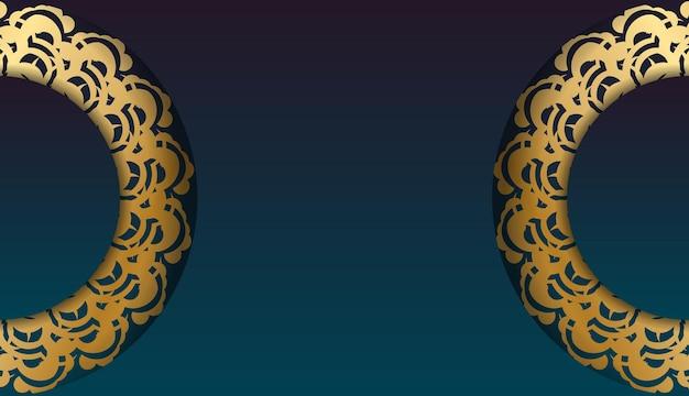 Dépliant de voeux avec un dégradé de couleur verte avec un ornement mandala en or pour votre conception.