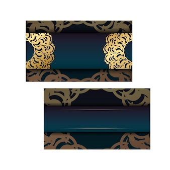 Le dépliant de voeux à motif d'or indien dégradé vert est prêt à être imprimé.
