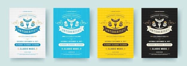 Dépliants ou affiches de l'oktoberfest, des modèles vectoriels de typographie rétro conçoivent des invitations à la célébration du festival de la bière.
