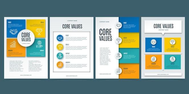 Dépliants sur les valeurs fondamentales de style papier