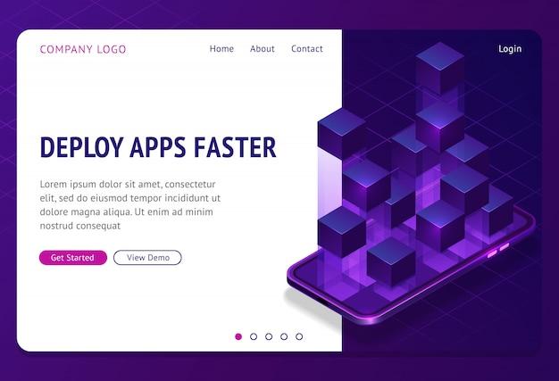 Déployer des applications plus rapidement bannière de page de destination isométrique