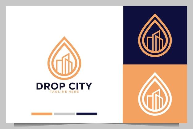 Déposez avec la conception de logo de bâtiment de ville