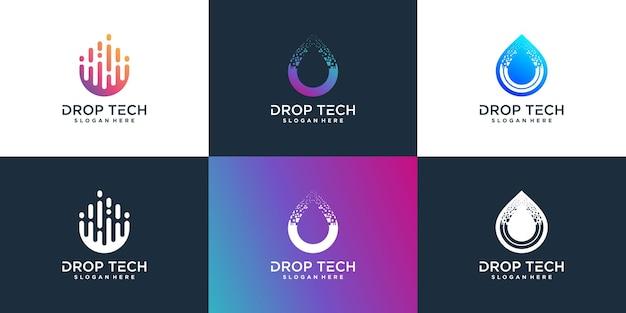 Déposez le logo de la technologie avec un style unique et créatif vecteur premium
