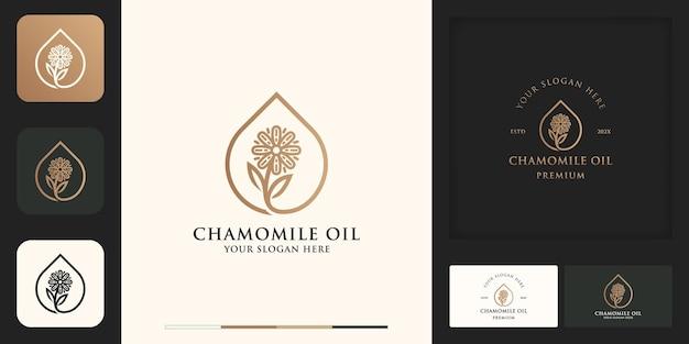 Déposez le logo vintage moderne de fleur et la conception de carte de visite