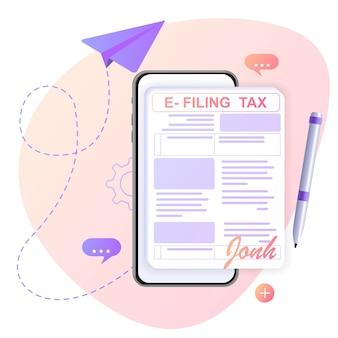 Dépôt et paiement de l'impôt sur le revenu avec des formulaires en ligne déclaration fiscale numérique avec l'application eform des factures d'impôt