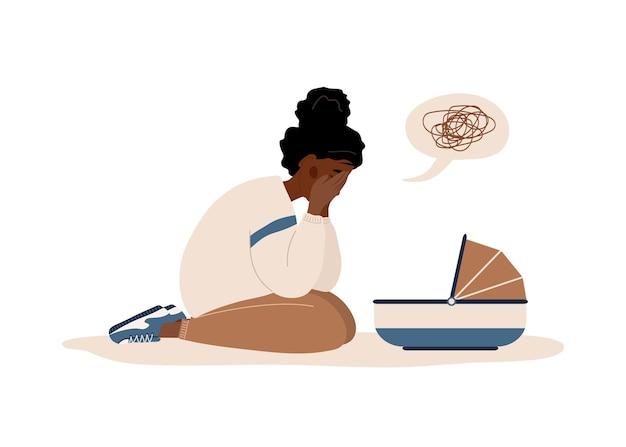 Dépression postpartum. une mère africaine a besoin d'une aide psychologique.