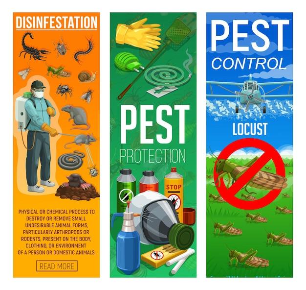 Dératisation et désinfection, bannières de lutte contre les rongeurs et les insectes nuisibles