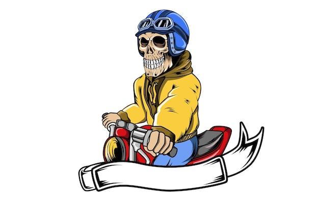 Dérive du crâne moto portant un casque illustration de dessin à la main