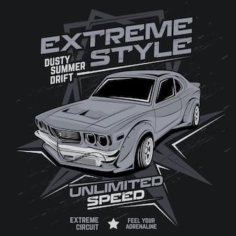 Dérive de l'été poussiéreux style extrême, illustration vectorielle de voiture
