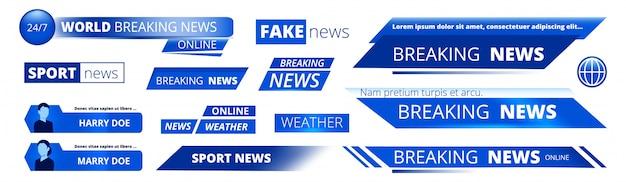Dernières nouvelles. bannières de diffusion graphique d'interface vidéo météo sport tv