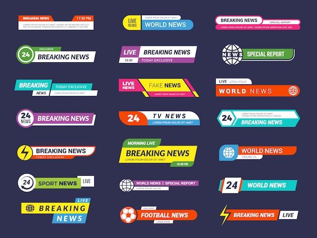 Dernières nouvelles. bannières de diffusion graphique d'interface vidéo sport tv
