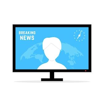 Dernières nouvelles avec la présentatrice. concept de présentateur, rapport, carte, blog, correspondant, diffuseur, nouvelles internet, webinaire. illustration vectorielle de style plat design moderne sur fond blanc