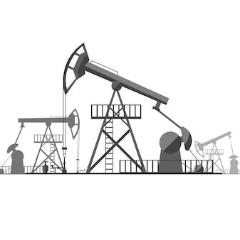 Derrick de pétrole noir de silhouette sur le style de conception plate industrielle d'énergie de concept d'arrière-plan. illustration vectorielle