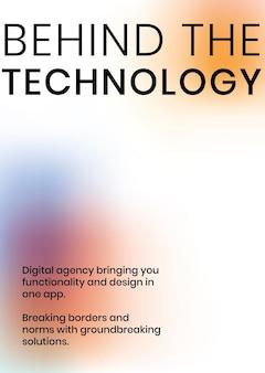 Derrière l'affiche de l'entreprise tech vecteur modèle tech dans des couleurs dégradées modernes