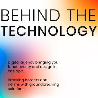 Derrière le modèle technologique vecteur de publication sur les réseaux sociaux de l'entreprise technologique dans des couleurs dégradées modernes