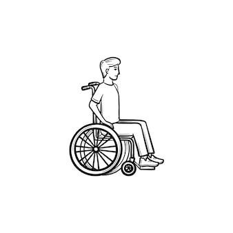 Désactiver la personne en fauteuil roulant icône de doodle contour dessiné à la main