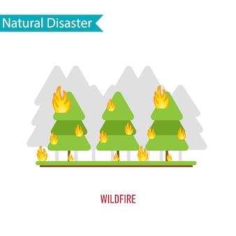 Désastre de feu de forêt dans le concept de design plat