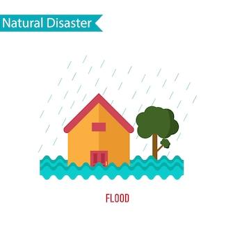 Désastre d'inondation dans le concept de design plat