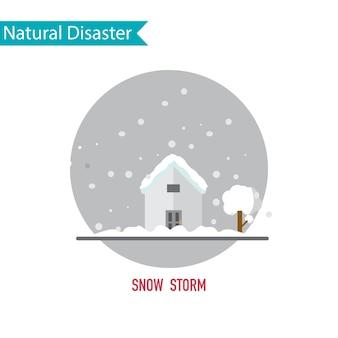 Désastre de neige dans le concept de design plat