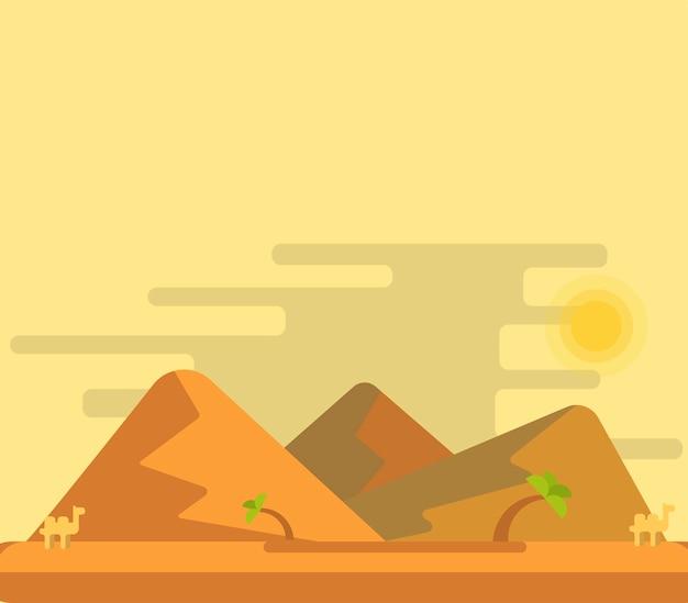 Désert, à, dunes, fond, vecteur, illustration