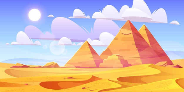 Désert égyptien avec des pyramides antiques