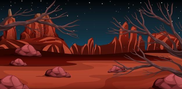 Désert avec paysage de montagnes rocheuses à la scène de nuit