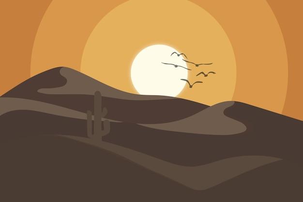 Le désert de paysage plat pendant la journée est magnifique