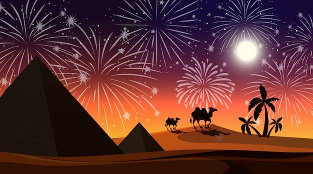 Désert avec scène de feux d'artifice de célébration