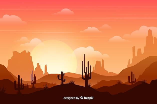 Désert avec soleil et grands cactus