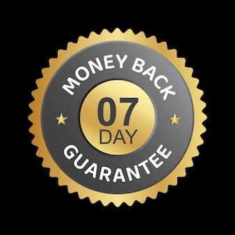 Desgn de badge de vecteur de garantie de remboursement de 7 jours