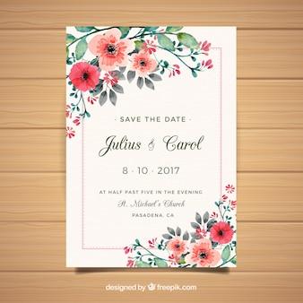 Désherbage floral carte d'invitation
