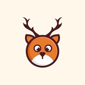Desig d'illustration de dessin animé mignon tête de cerf