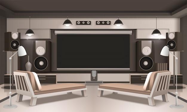 Design 3d d'intérieur de home cinema moderne