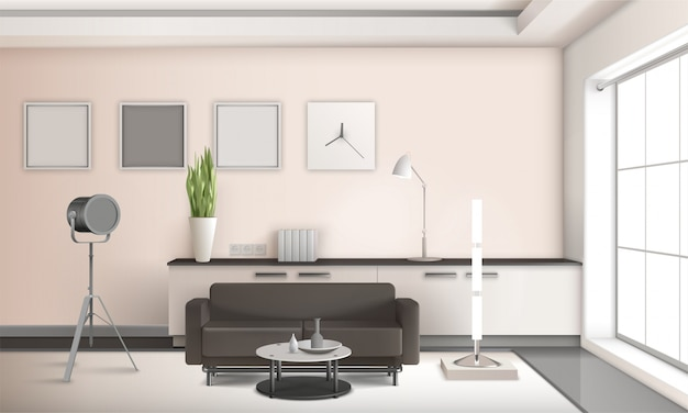 Design 3d d'intérieur de salon réaliste