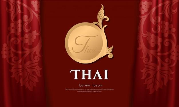 Design d'art traditionnel thaïlandais sur tissu couleur rouge