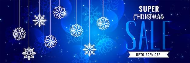 Design de bannière bleue vente de noël brillant