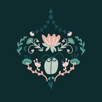 Design baroque floral avec bug.