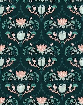 Design baroque floral avec des insectes. modèle sans couture damassé.